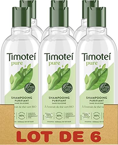 Timotei Shampooing Femme Purifiant à l'Extrait de Thé Vert Bio, Fraîcheur et Légereté, Cheveux normaux régraissant vite, Sans silicone Lot de 6 x 300ml