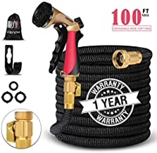 Crenova 100ft/30M Garden Hose Upgraded Expandable Hose with Three Latex Core, 3/4 Solid Brass Connector,Brass Valve, Expanding Water Hose with 7 Function Metal Spray Nozzle