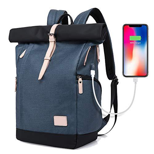 Für größere Ansicht Maus über das Bild ziehen XIAOYAO Laptop Rucksack Damen Herren Tagesrucksack Schulrucksack College-Rucksack Backpack Wasserdicht USB Rucksack 15,6 Zoll (Blau)