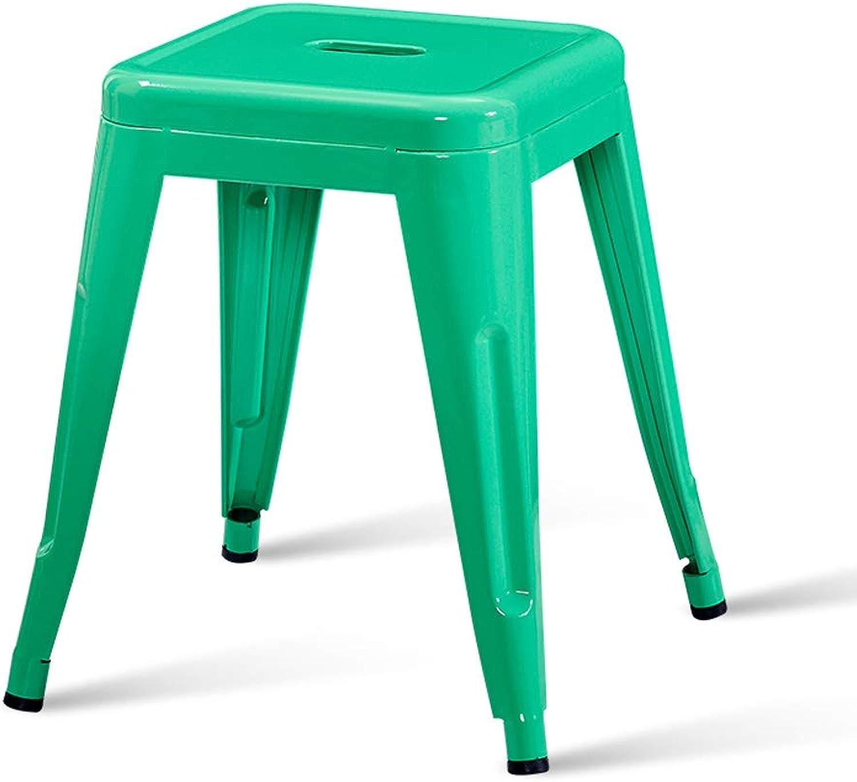 CJH Modern Minimalist Iron Stool Fashion Creative Stool Table Stool Home Living Small Bench Green Adult Stool