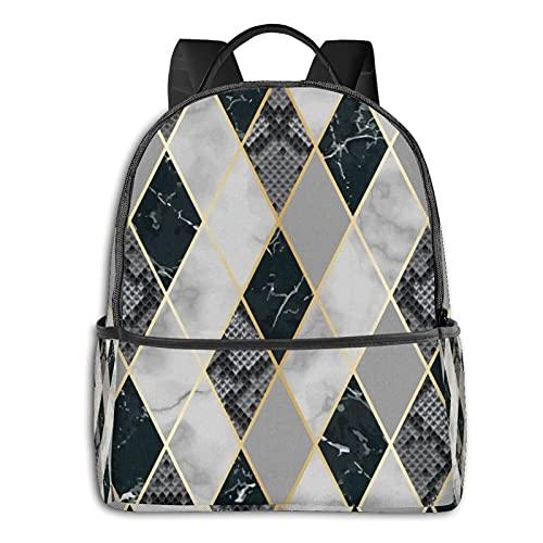 Rucksäcke Schultertasche Multifunktionale Reise Daypack Laptop Student Rucksack Marmor und Schlangenhaut Luxus Geometrisch Langlebig Mode Süße Taschen für Erwachsene und Jugendliche