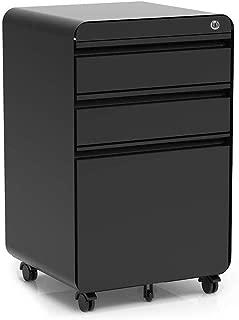 3-Drawer Filling Cabinet, Metal Vertical File Cabinet with Hanging File Frame for Legal & Letter File Install-Free Anti-tilt Design and Lockable System Office Rolling File Cabinet | Black
