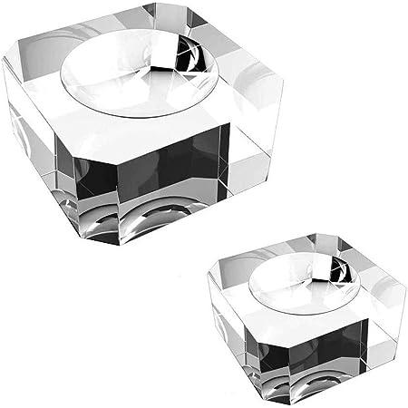 2 Pezzi Base a Sfera di Cristallo, Supporto a Sfera in Cristallo, Display a Sfera Cristallo, Dedicato Trasparente Piazza Base per Display in Cristallo Per Crystal Ball, Sphere Stone (2 Dimensioni)