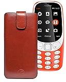 Original Favory Etui Tasche für Nokia 3310 (2017) | Leder Etui Handytasche Ledertasche Schutzhülle Hülle Hülle Lasche mit Rückzugfunktion* in braun