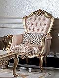 Casa Padrino sillón Barroco de Lujo Rosa/Negro/Oro - Sillón de salón Elegante con patrón y cojín Decorativo - Muebles de salón barrocos