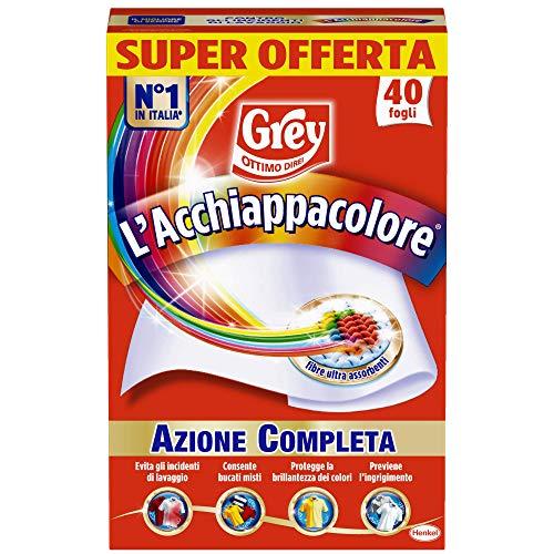 Grey L'Acchiappacolore Fogli Cattura Colore Lavatrice Evita Incidenti Lavaggio, Foglietti...
