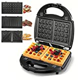 5-in-1 Belgian Waffle Maker, 750W Power Sandwich Maker, Non Stick Panini Press Grill, 2-Slice Compact Toaster, Electric Grilled Cheese Maker, 3 Detachable Plates, LED Indicator Lights, Suitable for Breakfast & Snacks