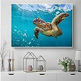 Pintura De Pintura De Tortuga De Mar Impresión Ocean Turtle Pósteres Imágenes De Arte De Pared para Baño Decoración De Niños Detalle Decoración Lienzo Impresión-30X40 Cm Sin Marco
