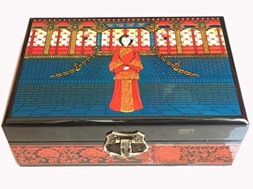 Caja de madera hecha a mano con llave oculta y ext Caja de joyería china, caja de almacenamiento pintado laca artesanía caja de joyería, madera lacada y espejo de madera duplicado joyería de joyería d