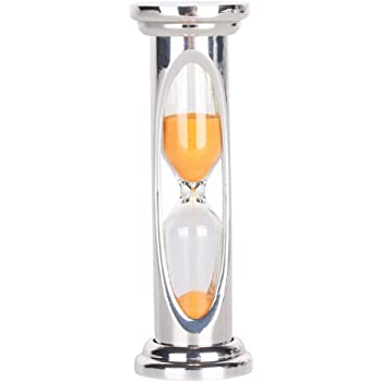Yichain Metal Sand Glass Hourglass Timer 3 Minutes Home Desktop Decoration Gift (Orange)