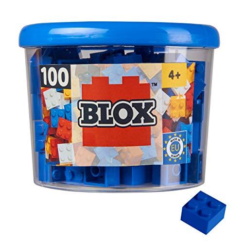 Simba 104114112, Blox, 100 blaue Bausteine für Kinder ab 3 Jahren, 4er Steine, inklusive Dose, hohe Qualität, vollkompatibel mit vielen anderen Herstellern