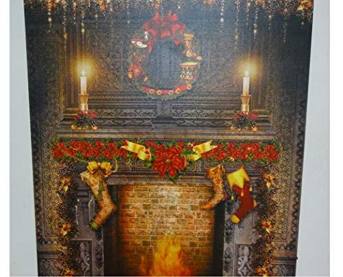 ZGYQGOO Weihnachtstag Landschaft Dekoration Malerei Leinwand Wandkunst mit batteriebetriebenen LED-Leuchten
