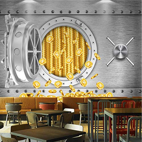Hwhz Benutzerdefinierte 3D-Persönlichkeit Tresor Us-Dollar Wandbild Industrial Wind Restaurant Hotel Tapeten An Der WandA-350X250Cm