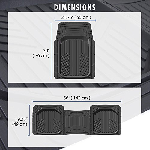 Motor Trend FlexTough Plus Black Rubber Car Floor Mats – All Weather Deep Dish Automotive Floor Mats, Heavy Duty Trim to Fit Design, Odorless Floor Mat Liners for Cars Truck Van SUV