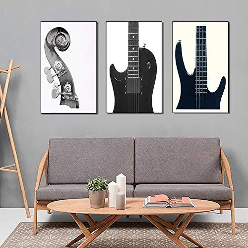 Llxhg Woonkamer Decoratieve Schilderij Zwart en Wit Toon Piano Mural Moderne Minimalistische Persoonlijkheid Muziek Kinderkamer Muur Schilderij 3 Stukken Zonder Frame 30 * 40Cm*3