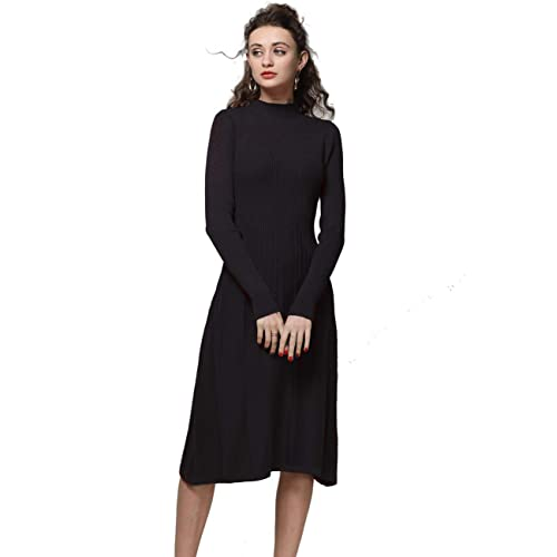 FINCATI Knitted Dress Women Cashmere Wool Soft Warm Cozy Elegant Ribbed  Elbow Knee-Length Sweater 8f2139fb1643