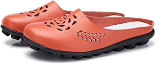AUCDK Women Mule Loafers Leather Slip On Loafers Breathable Hollow Casual Flats Ladies Comfy Slipper Sandals