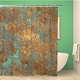 Awowee Decor Duschvorhang Orange Kupfer Vintage Bronze Rost Metall Patina Wand alt 180 x 180 cm Polyester Stoff Wasserdicht Badvorhänge Set mit Haken für Badezimmer