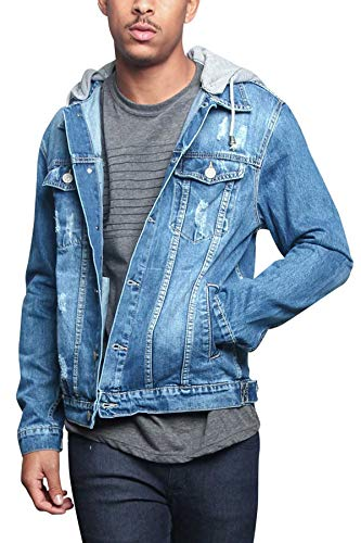 Victorious Men's Removable Hoodie Layered Distressed Denim Jean Jacket DK109 - Indigo - X-Large - II1G