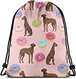 zhkx Gran Danés Brindle Donuts Raza de Perro Rosa Mochila Especial Saco Bolsa Gimnasio Bolsa para Hombres y Mujeres 17 X 14 Pulgadas de Moda 6651