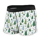zengdou Herren Unterwäsche,Herren-Boxershorts Men's Breathable Underwear Winter Forest Trees Pattern A Woodland Background Comfortable Boxer Briefs
