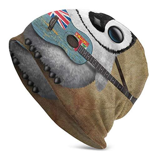 Baby Pen-g-u-in Tocando la Guitarra Fiji Sombreros de Punto para Adultos Beanie Hat Gorro de Invierno cálido Gorro de Punto deliciosamente Suave para Hombres Negro