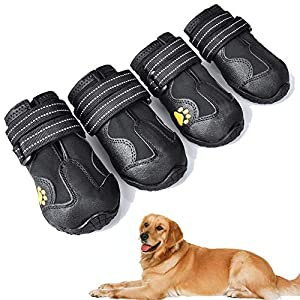 XSY&G Dog Boots,Waterproof Dog Shoes,Dog Booties with Reflective Rugged Anti-Slip Sole and Skid-Proof,Outdoor Dog Shoes for Medium to Large Dogs 4Ps
