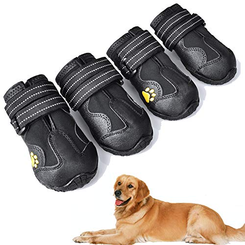 XSY&G Dog Boots,Waterproof Dog Shoes,Dog Booties with Reflective Rugged Anti-Slip Sole and Skid-Proof,Outdoor Dog Shoes for Medium to Large Dogs 4Ps-Size4