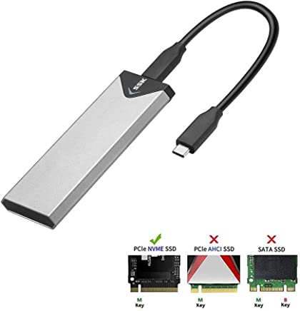 SSK Aluminum M.2 NVME SSD Enclosure Adapter, USB 3.1 Gen 2 (10 Gbps) to NGFF NVME PCI-E M-Key Solid State Drive External Enclosure (Fits only NVMe PCIe 2242/2260/2280)