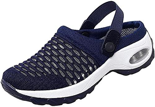 Sandalias ortopédicas para caminar, transpirables, informales, con cojín de aire para mujer, de malla, ligeras, cómodas, deportivas, con soporte de arco ortopédico oculto (6.5 UK,azul)