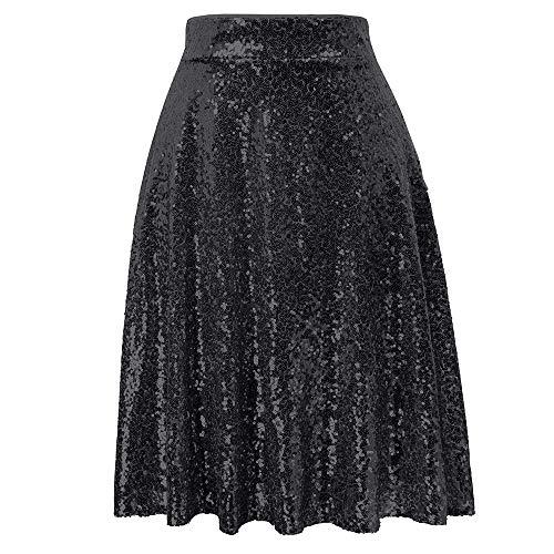 Grace Karin dames paillettenrok hoge taille plissé flared A-lijn rok clubwearsexy party mini rok