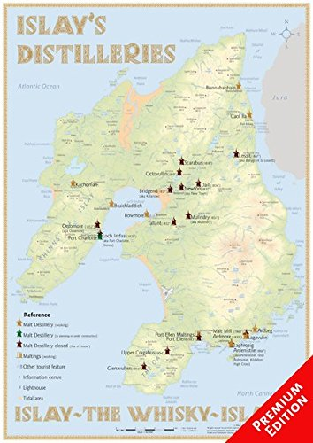 Whisky Distilleries Islay - Poster 42x60cm - Premium Edition: The Whisky Landscape of Islay in Overview: The Whiskylandscape in Overview - Maßstab 1 : 82.000