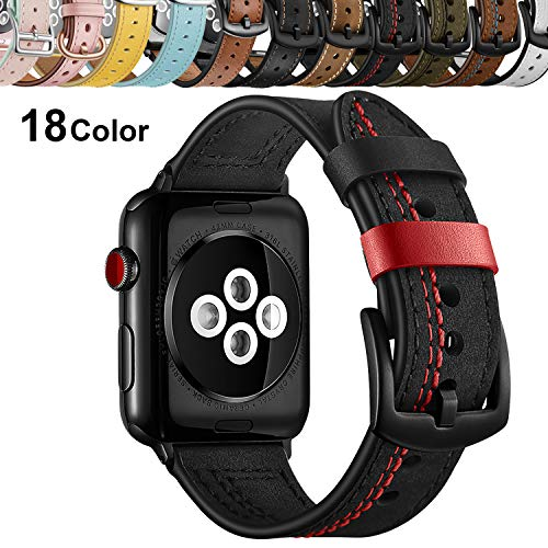 Chok Idea Cinturino Compatible with Apple Watch 44mm 42mm,Trendy Genuino Pelle con Sicuro Metallico Fibbia,Band Replacement for iWatch Series 5 & 4/3/2/1,Black