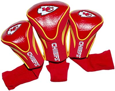 Team Golf NFL Kansas City Chiefs Contour Golf Club Headcovers (3 Count), Numbered 1, 3, & X, Fits Oversized Drivers, Utility, Rescue & Fairway Clubs, Velour lined for Extra Club Protection