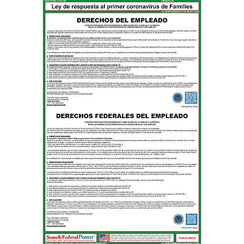 Families First Coronavirus Response Act Poster (FFCRA Spanish) - Employee Rights Paid Sick Leave and Expanded Family and Medical Leave