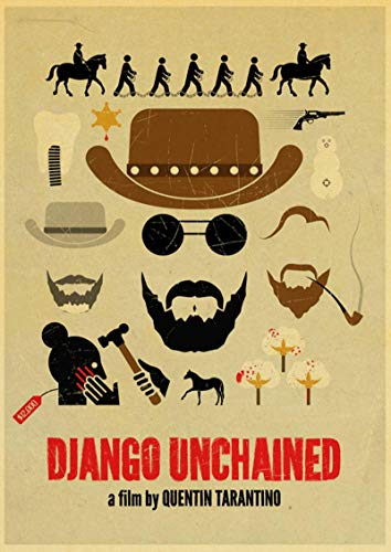 Weijiajia Film Classico Quentin Tarantino Film Django Unchained Retro Vintage Poster Wall Decor for Home Bar Cafe 50x70cm (19.68x27.55 in) F-2018
