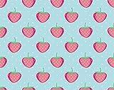 Y·JIANG Pintura de frutas de verano por números, rosa linda fresa sobre lunares de menta, lienzo acrílico al óleo por números para adultos y niños, decoración de pared del hogar, 40,6 x 40,6 cm