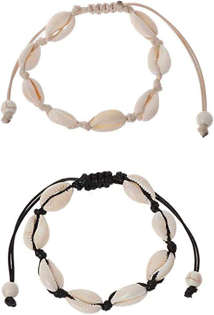 Yolistar 2 Piezas Conchas Pulseras, Handmade Hawaiian Beach Seashell Jewelry Pulseras únicas de Moda, Natural a Mano Pulsera Ajustables, Mujeres (1 Cuerdas Negro, 1 Cuerdas Blanco)