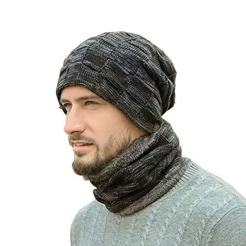 Avril Tian 2 in 1 Inverno Foderato in Pile Cappello e Sciarpa Circolare Set Caldo Unisex Berretto Teschio Cappello per Uomo Donna Nero