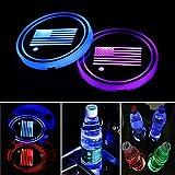 Diycarhome - Juego de 2 posavasos con diseño de bandera de Estados Unidos con 7 colores cambiantes de USB, almohadilla luminosa para la atmósfera interior de la lámpara de decoración