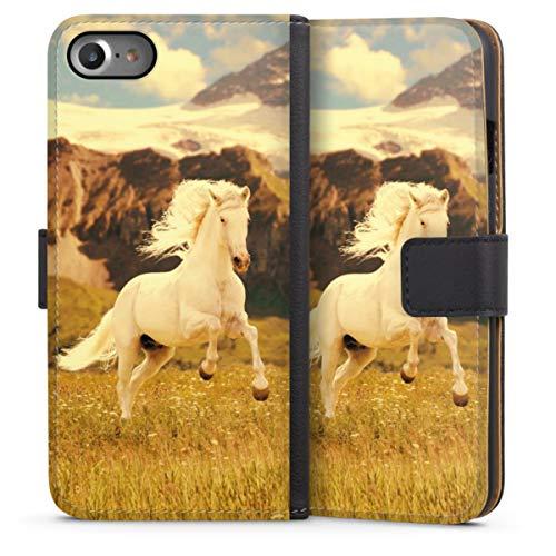 DeinDesign Klapphülle kompatibel mit Apple iPhone SE (2020) Handyhülle aus Leder schwarz Flip Hülle Pferd Wiese weiß