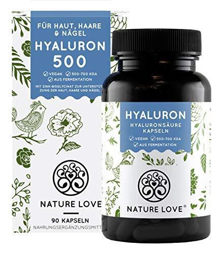 NATURE LOVE® Hyaluronsäure Kapseln mit Zink - Hochdosiert: 500mg - Vegan - 90 Stück (3 Monate) - 500-700 kDa