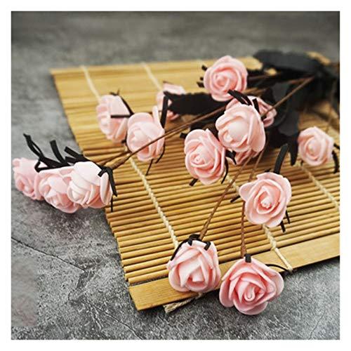 Zxebhsm Künstliche Blumen 15 Kopf Künstliche Rose Blume Bouquet Hochzeit Party Dekoration Mini Gummi Rose Knospe DIY Handwerk Handgemachte Gefälschte Blume Herbst Decor (Farbe : Hellrosa)