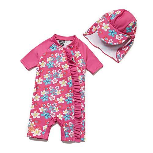 Bonverrano - Costume da bagno per bambina, a maniche corte, protezione UV 50+, con chiusura lampo Rosa gelsomino. 92 cm-98 cm