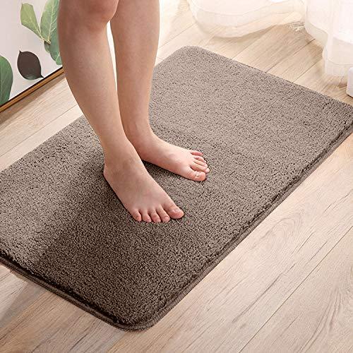 Telgoner Alfombrilla de baño, antideslizante, lavable, 50 x 80 cm, suave alfombra de baño de chenilla, secado y resistente al moho, alfombra de baño para baño, cocina, rápida (marrón)