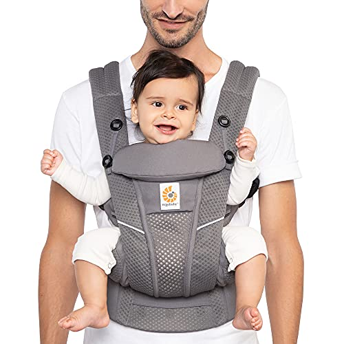 Ergobaby Omni Breeze All Carry Positions Breathable Mesh Baby Carrier with Enhanced Lumbar Support & Airflow (7-45 Lb), Graphite Grey