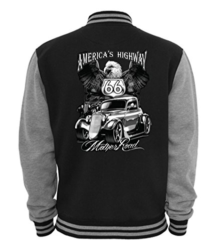 Ethno Designs Mother Road - Hot Rod College Jacke für Damen und Herren - Old School Rockabilly Retro Style, Navy/Sportsgrey, Größe L