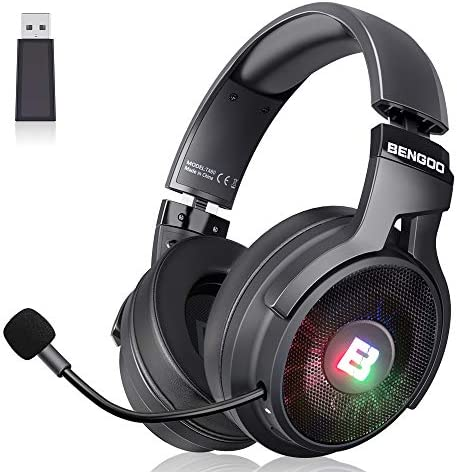 BENGOO 2 4G Wireless Gaming Headset Headphones with Microphone for PS4 PC USB RGB Over Ear Noise product image