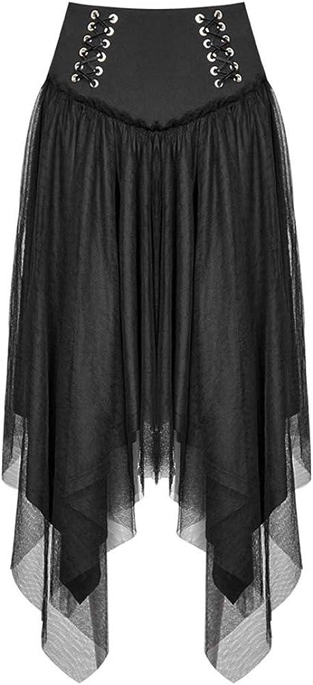 Punk Rave Women Punk Eyelet Tie Rope Mesh Half Skirt High Waist Double-Layer Mesh Asymmetric Hem Casual Skirt