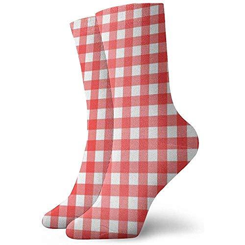 Kevin-Shop Rood en Wit Vierkant Tafelkleed Patroon Enkelsokken Casual Gezellige Crew Sokken voor Mannen, Vrouwen, Kinderen